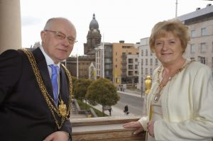 The Lord Mayor of Leeds Councillor Thomas Murray and the Lady Mayoress Edna Murray, ready to welcome the Steeton Male Voice Choir to Leeds Civic Hall.