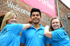 Tour Makers Becky Clarke, 35, from Bingley, Vijay Dayalji, 28, from Bradford, and Claire Brown in their Tour Makers uniform.