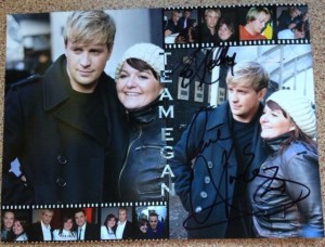 Kelly's picture collage of her and Kian which he signed