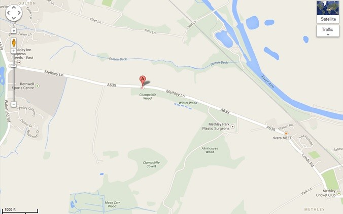 Methley Lane, Oulton, where the car overturned last night.