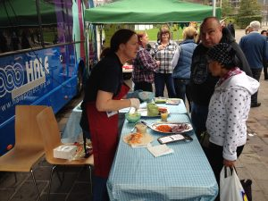 Rachel Green from HALE prepares healthy alternatives in City Park