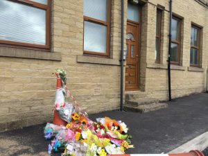 A photo taken from outside the home of the victim