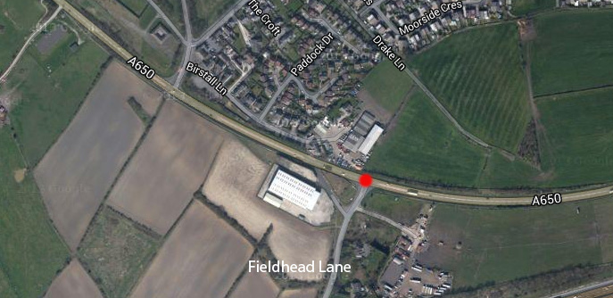 The junction of the A650 and Fieldhead Lane.