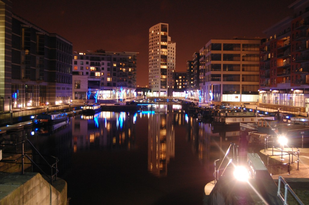 A view of Clarence Dock, Leeds, at night